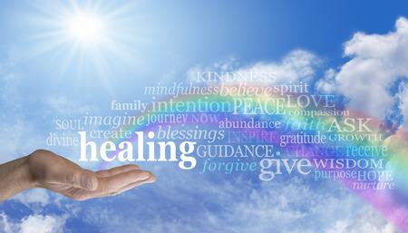 Sending Rainbow Healing Standard-Bild