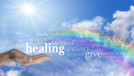 healing hands: Sending Rainbow Healing Stock Photo