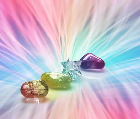 Uitstralende Rainbow Healing Crystals Stockfoto