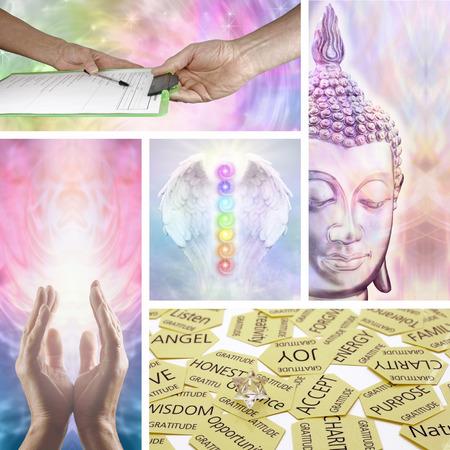 consulta m�dica: Holistic Healing Terapia Collage Foto de archivo
