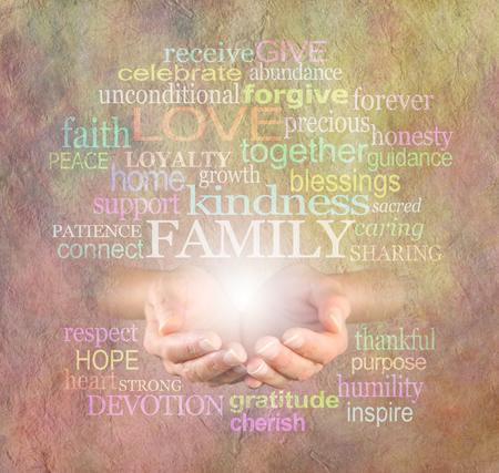 curare teneramente: Famiglia conta word cloud Archivio Fotografico