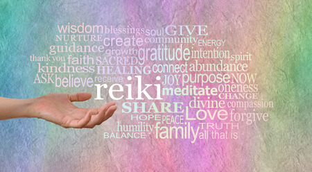 channeling: Offering Reiki Healing Words of Wisdom Stock Photo