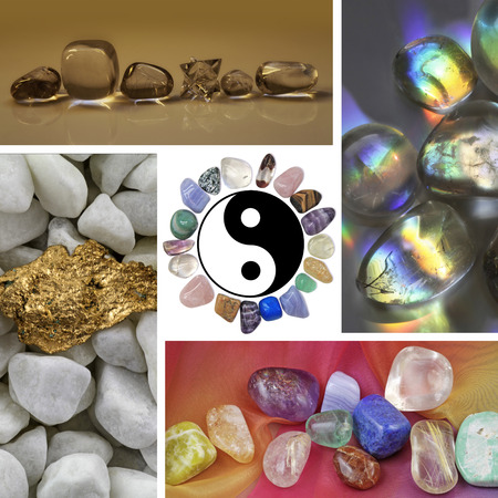semi precious: Four images of different healing crystals and minerals Stock Photo