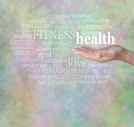 public offering: Health and Fitness Word Wall Stock Photo