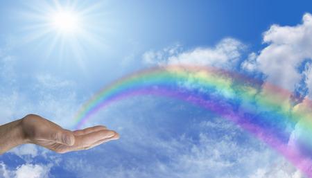 Het verzenden van Rainbow Healing Energy Stockfoto