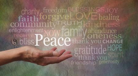 altruism: Paz en la palma de tu mano Foto de archivo