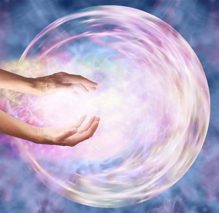 universal enlightenment: Sending Distant Healing to Embryo Stock Photo