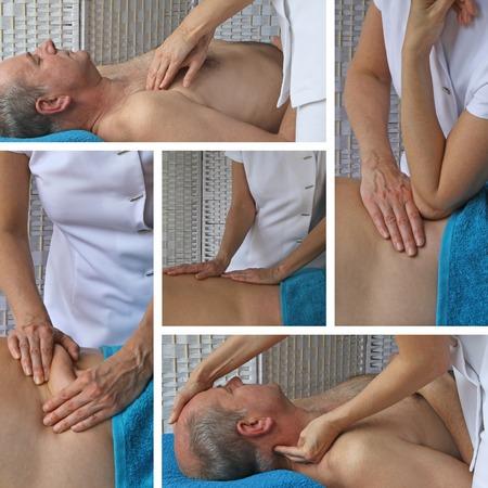 masaje deportivo: Collage de t�cnicas de masaje deportivo Foto de archivo