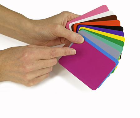 Color Therapist pointing to Color Therapy cards