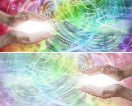 aura energy: Color Light Healing Therapy Website Header Stock Photo