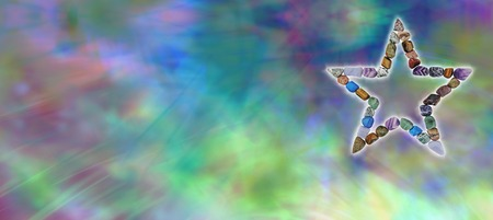 tumbled stones: Crystal Star Healing Website Banner Stock Photo