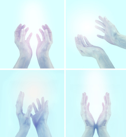 universal enlightenment: 4 x different healing hands position on light blue background