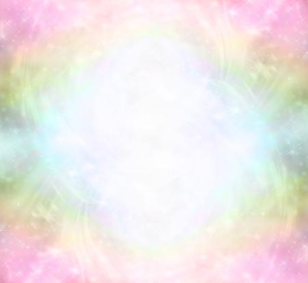 미묘한 무지개 치유의 빛 에너지 필드