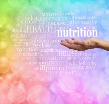 salud publica: Nutrición y Salud Nube de la palabra Foto de archivo