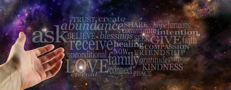 charitable: Ask Believe Receive Word Cloud Stock Photo
