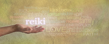 Female Reiki Healer with Healing Word Cloud