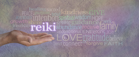 channeling: Male Reiki Healer with Healing Word Cloud