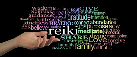 complementary therapy: Sharing Reiki Word Cloud Website Banner Stock Photo