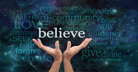 spiritual background: Believe Word Cloud on Deep Space background Stock Photo