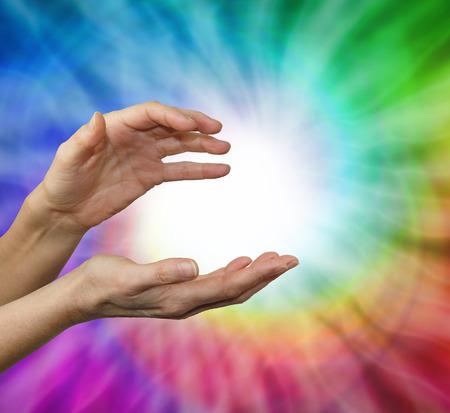 Color healing therapist sensing color energies