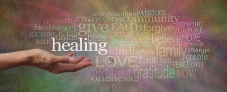 Wise Healing Wörter Parchment Website-Header Standard-Bild