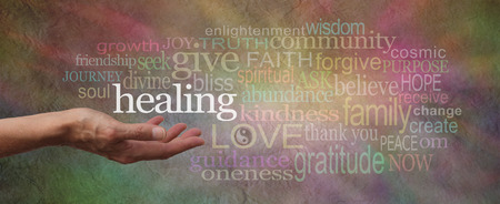 Wise Healing Words Parchment Website Header Stock Photo - 39803217