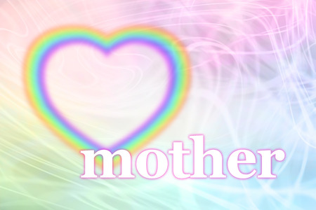 mothering: Mothering Sunday Rainbow Heart Frame Stock Photo