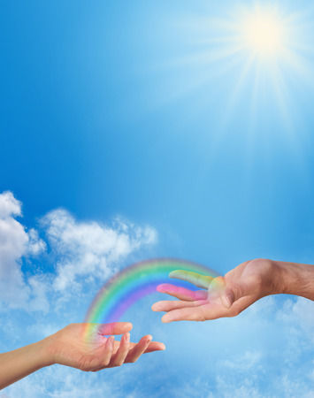 universal love: Compartir un arco iris con usted Foto de archivo