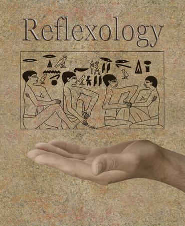 reflexologie: Réflexologie représenté dans des hiéroglyphes égyptiens antiques