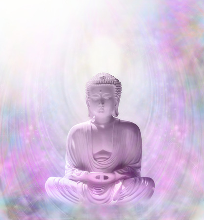 Mindfulness Meditation with Levitating Buddha Stock Photo