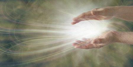 spiritual background: Miracles Happen  healer working with energy Stock Photo