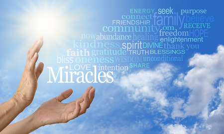 Miracle Worker Word Cloud Screen Saver Stock Photo