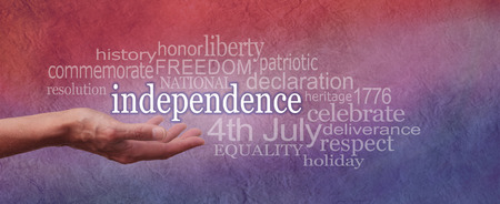 independencia: Día de la Independencia palabra rojo blanco y azul de la nube bandera