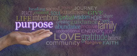 stone of destiny: What is Lifes Purpose   male hand open palm upwards with the word Purpose floating above surrounded by a multicolored word cloud on a wide stone effect background