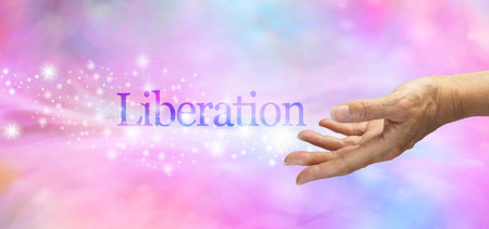 liberate: Liberation Celebration Banner  Female hand outstretched with the word Liberation floating away amongst a stream of sparkles on a feminine pink and blue toned bokeh effect background