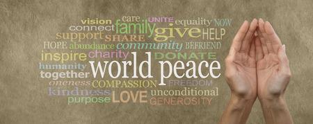 세계 평화 캠페인 기부 배너 여성 cupped 손 손바닥에 베이지 색 색된 돌 효과 배경에 관련 단어 구름에 둘러싸여 왼쪽에 흰색에서 단어 '세계 평화'