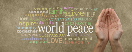 anti war: Contribute to World Peace Campaign Banner  female cupped hands palm up with the words world peace in white on the left surrounded by a relevant word cloud on beige  colored stone effect background Stock Photo