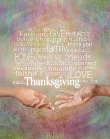 caes: Celebrar Acción de Gracias juntos Rústico cálida grunge efecto de fondo de piedra multicolor con un macho y una mano femenina frente a la otra y una nube de palabras de acción de gracias por encima de