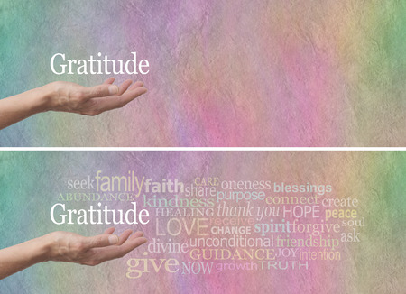indebted: Gratitude Attitude Word Cloud  Stock Photo