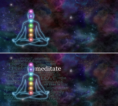 chakra: Chakra Meditation - Deep space background with the outline of a man meditation in lotus position  Stock Photo