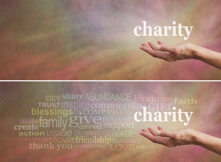 Donate to Charity Campaign banner - Womans outstretched open hand with the word charity above