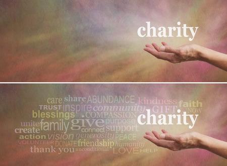 Doneer aan Charity Campaign banner - uitgestrekte open hand van de vrouw met het woord 'liefdadigheid' boven
