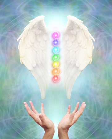 chakra energy: Sacred Angel Chakra Healing - White Angel wings with seven chakras between on an intricate blue energy
