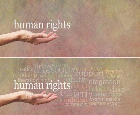 """diritti umani: Diritti Umani � nella nostra campagna banner Hands - palmo aperto della femmina con le parole """"diritti umani"""" sopra circondato da una nuvola parola rilevante su una vasta sfondo effetto pietra"""