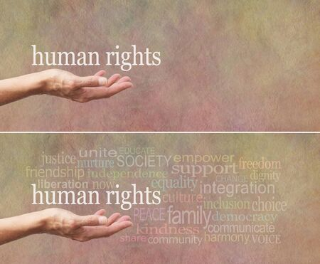 human rights: Human Rights is in Our Hands campaign banner - females open palm with the words human rights above surrounded by a relevant word cloud on a wide stone effect background