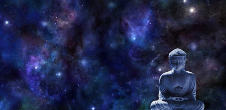 Mindfulness Meditation Banner -  wide dark blue night sky background with planets and stars and a statue of Buddha in lotus position in bottom right corner with plenty of copy space
