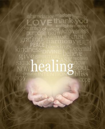 Gentle Healing Words - Vrouwelijke holle handen met het woord 'Healing' zwevend boven omgeven door een helende woord wolk op een wervelende mistige sepia gekleurde energie achtergrond