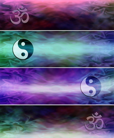 4 Different Om Yin Yang Symbol Holistic Website Banners Two