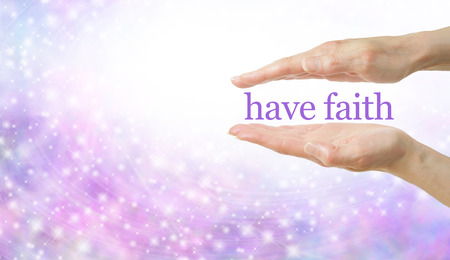 spiritualism: Faith Healing banner - Female parallel hands with two words floating between and sparkles randomly flowing across  underneath with plenty of copy space Stock Photo