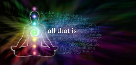 Chakra Meditatie Word Cloud Website Banner - brede donkere banner met regenboog gekleurde spiraal en mannelijke lotushouding silhouet op de linkerkant en een transparante woordwolk omliggende Al Dat Is in het wit